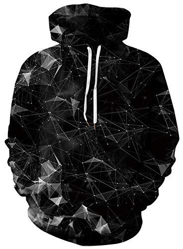 Loveternal 3D Druck Hoodies Geometrisch Kapuzenpullover Langarm Tops Leichte Sweatshirts Mit Taschen M