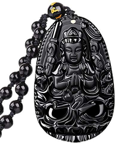 Obsidian 1000 Arms Avalokitesvara Bodhisattva Kwan Yin Pendant Necklace Jade Fives Dragon Kwan-Yin Bodhisattva Buddha Phoenix Pendant Necklace