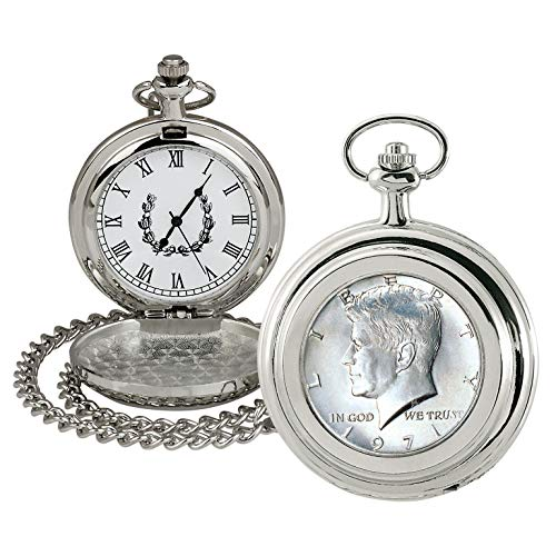 Coin Pocket Watch with Quartz Movement | JFK Half Dollar | Genuine U.S. Coin | Sweeping Second Hand, Roman Numerals | Silvertone Case | Certificate of Authenticity