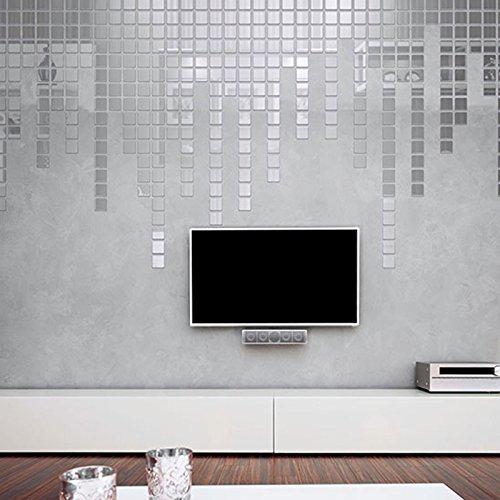 5x 150 Silver DIY Self-Adhesive Mirror Home Decor Mosaic Tiles Mirror Tiling Set