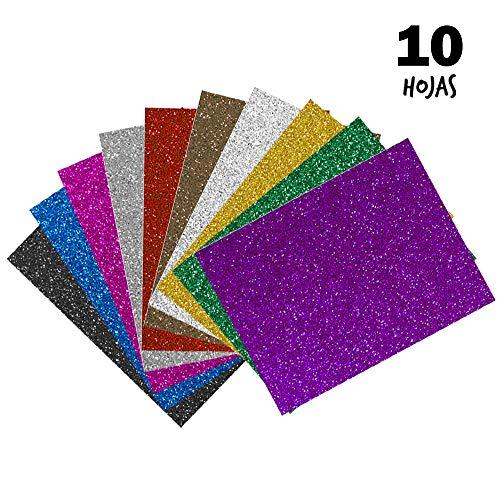Starplast, Pack de 10 Papel Goma Eva, Papel Foamy, Con Purpurina, Estampado Liso, A3, 30 cm x 40 cm, para Decorar y Manualidades, colores varios