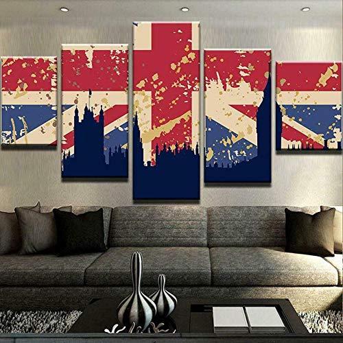 6Lv5Panel Bandera de Gran Bretaña sobre Londres Cuadros lienzos Salon Impresiones sobre Lienzo Regalo Impresión de 5 Piezas Material Tejido no Tejido Impresión-200 * 100cm