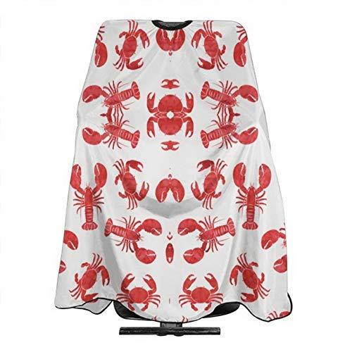 Patrón de cangrejo rojo en blanco, impermeable, ajustable, capa de corte de pelo para niños adultos, 55x66 pulgadas, apta para peluquería y uso doméstico