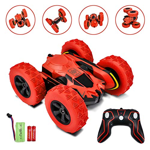 Rainbrace Remote Control Car for Boys Girls 4WD RC Stunt Car Double Sided 360°Rotating Remote Control Truck Off Road Hobby Crawler 2.4Ghz High Speed Racing Car Toys for Boys Girls Kids Adults Red
