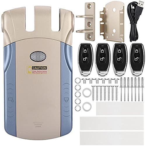 Cerradura electrónica sin llave invisible inalámbrica,bloqueo y desbloqueo táctil con control remoto,cerradura inalámbrica inteligente,aleación de zinc metálico(Dorado, sin adaptador USB Bluetooth)