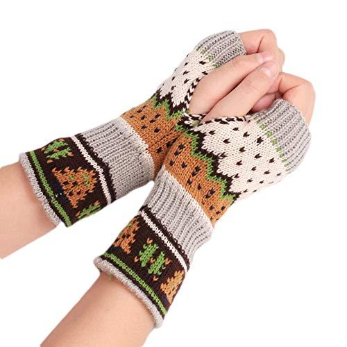 quanju cheer Coloridos guantes de punto sin dedos para mujer, cálidos y...