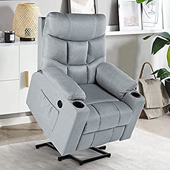 YODOLLA Lift Chair for Elderly Big and Tall Lift Recliner with Cup Holder,Side Pockets,USB Port & Massage Remote Control Lazyboy Power Rising Recliner with Heat&Vibration Massage,Grey