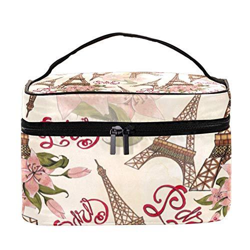 Trousse de maquillage à motif citron rose - Organiseur de rangement - Trousse de toilette de voyage avec poignée, pinceaux de maquillage, rouge à lèvres