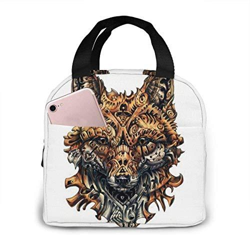 Wolf (5) Bolsa de almuerzo para mujeres,niñas,niños,bolsa de picnic aislada,bolsa gourmet,bolsa cálida para el trabajo escolar,oficina,camping,viajes,pesca