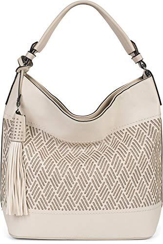 styleBREAKER Damen Hobo Bag Handtasche mit Cutouts in Rauten Form und Quaste, Shopper, Schultertasche, Tasche 02012285, Farbe:Beige