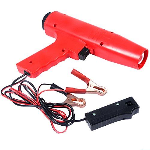 RELAX4LIFE Zündeinstelllampe, Zündzeitpunktpistole 12V, Zündung Timing Light, Zündlichtpistole inkl. Klammern, Stroboskoplampe für für Motorrad, Auto, Blitzpistole Rot, 8000U/min, 250 x 55 x 180 mm