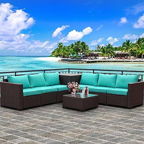 Patio PE Wicker Furniture Set 6 Piece Outdoor Brown Rattan Sectional Loveseat Couch Conversation Sofa with Storage Box and Coffee Table, Turquoise Cushion