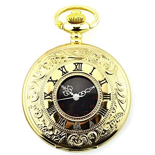 Gobesty Vintage Orologio da tasca da uomo in acciaio con catena dorata, orologio da tasca aperto vintage con numeri romani