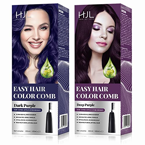 HJL Purple Hair Dye Permanent Hair Color Ammonia Free with Comb Applicator Easy Use Hair Coloring Cream Kit