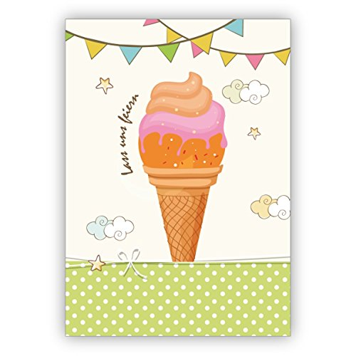 Leuke uitnodiging met ijs voor een zomerfeest of spontaan tuinfeest: laat ons vieren • mooie groet vouwkaart met envelop binnen blanco voor lieve woorden