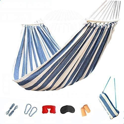 BZLLW Hammock,Garden Hammock with Wooden Bars and Carry Bag,Portable Canvas Striped Breathable Hammocks Perfect for Patio Yard Outdoors