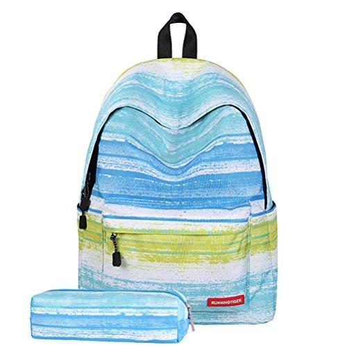 TINKSKY Fashion Women Girls Canvas Travel School Bag Backpack Rucksack with Pen Bag Stripe Design (Green)