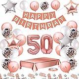 MMTX Palloncini Compleanno 50 Anni Oro Rosa Compleanno Decorazioni per Feste Donna Addobbi Compleanno Bomboniere 50 Anni Ragazza con Tovaglia Konfetti Palloncini in Lattice Stampati