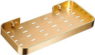 ZHAOHUI 浴室用ラック スペースアルミ 主催者 通気性 カビ防止 ドレイン ガードレール付き、 2つの設置方法、 3色 (色 : ゴールド)