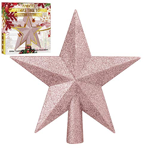 Aneco Glitter Christmas Tree Topper Shatter-proof Christmas Tree Decoration Treetop for Holiday Ornament or Home Decor (Rose Gold, 6 Inches)