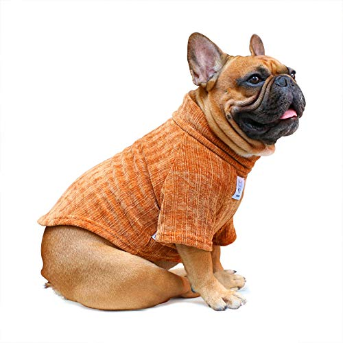 iChoue Pet Dog Winter Warm Sweater Clothes Turtleneck for French Bulldog Pug Boston Terrier Corduroy Cold Weather Pullover Coat Shirt - Coffee/Size L