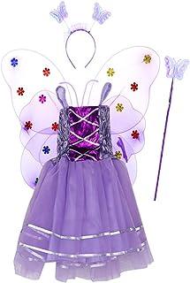 0732bd0297 Amosfun 4pcs Filles Costume de Papillon Lumineux Ailes de Fée avec Baguette  et Halo pour Habiller