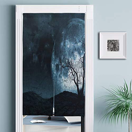 JISMUCI Vorhänge für Türen,Nachtmond Himmel mit Baum Silhouette Gothic Halloween Farben Scary Artsy,Türvorhang Für die Küche Wohnzimmer Schlafzimmer
