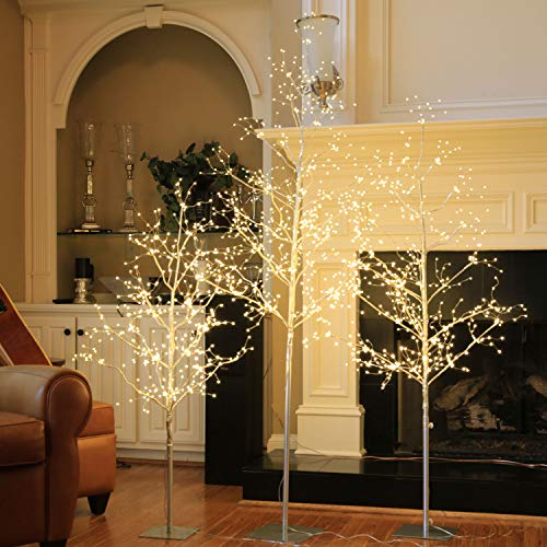 LIGHTSHARE Christmas Tree Combo Kit - Starlit Tree Collection with Angel Lights, 4 feet 5 feet and 6 feet, Silver, Pack of 3, Perfect for Home Decor Holiday Party Wedding