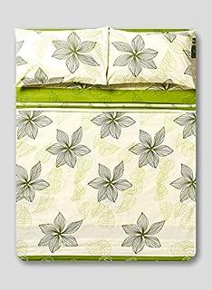 White Rose TFP52002 Tuleep 4 Piece Printed Bedsheet Set, Multicolour