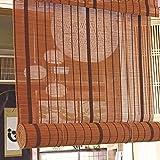SJMFGF Rodillo de bambú ciego marrón oscuro, bambú natural, filtrado de luz de bambú de bambú, cortinas para exteriores, transpirables y ecológicos, para al aire libre, ventana, interior, Personalizad