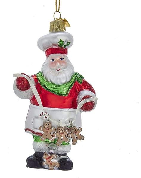Kurt Adler Noble Gems Gingerbread Santa Glass Ornament