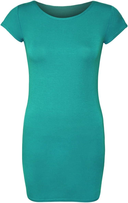 COMMENCER Womens Plain Short Sleeve Jersey Midi Bodycon Stretch Dress
