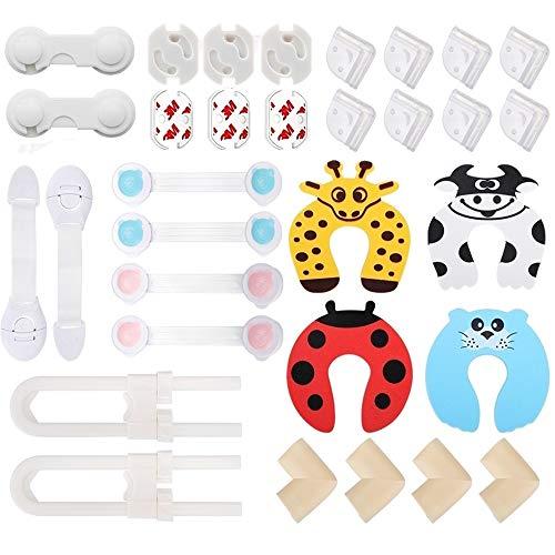 Lehoo Castle Kit Seguridad Bebés 32 piezas, 6 Bebé de Seguridad Bloqueo, 2 Cerraduras de Cajónes, 6 tapas de salida, 8 Protectores de Esquinas Transparentes, 4 Protectores de Esquinas de Espuma