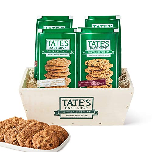 Tate's Bake Shop Cookies, Variety Gift Basket, 7 Oz, 4 Count (Chocolate Chip, Walnut Chocolate Chip, Oatmeal Raisin, White Chocolate Macadamia Nut)