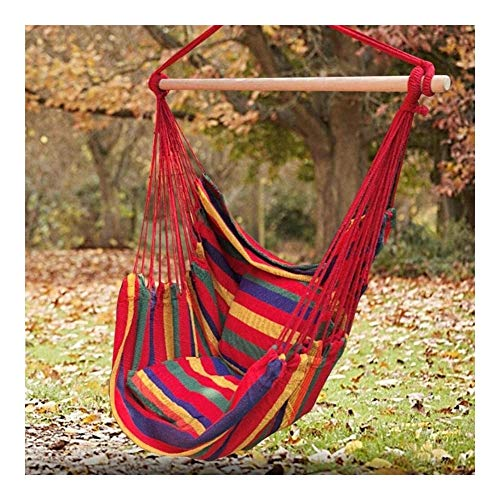 Sling hammock swing seat Hanging Rope Hammock Chair Swing Seat, Striped colored hanging chair Large Household Hammock Net Chair Porch Chair for Yard, Bedroom, Patio, Porch, Indoor, Outdoor - 2 Seat Cu