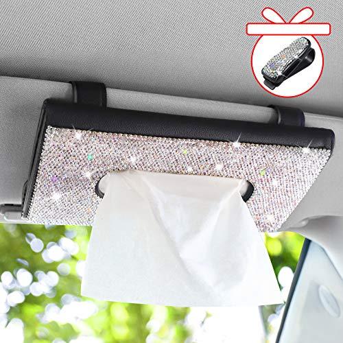Bling Bling Car Sun Visor Tissue Box Holder, Crystal Sparkling Napkin Holder, PU Leather Backseat Tissue Case Crystal Paper Towel Cover Case, Auto Rhinestone Car Interior Accessories for Women, Black