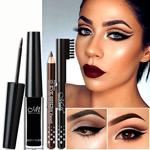 Yiitay marque imperméable liquide eyeliner cadeau noir et crayon à sourcils Longue durée jusqu'à 24 heures composent ensemble