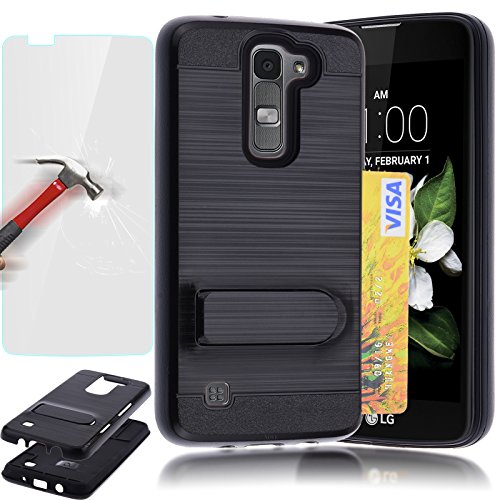 LG K7 Case LG Tribute 5 Case, AUU [Kickstand] [Shock Absorption] [Card Holder Slot] Brushed Metal Texture Hybrid Dual Layer Protector Case Cover + Tempered Glass Protector - Black