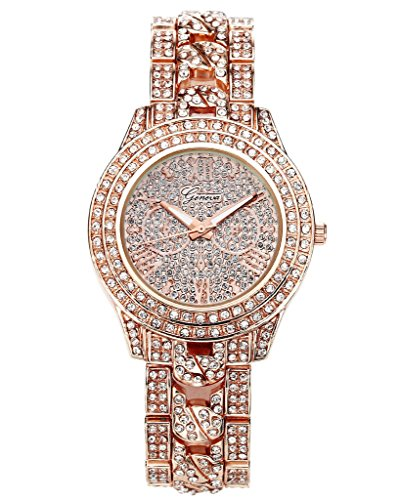 JSDDE Uhren, Elegant Damen Armbanduhr mit Strass Glitzer Dial Damenuhr Metall-Band Ladies Dress Analog Quarzuhr (Rosegold)