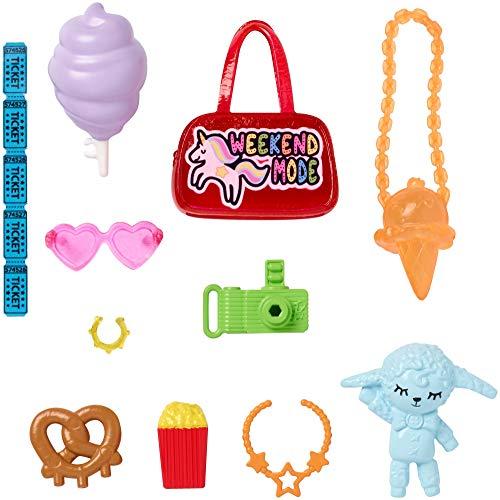 Barbie Mattel GHX35 Fashion Zubehör, Accessoires Karneval, Reisetasche, Schmuck, Eiscremetasche, Kamera, Tickets, Kuscheltier, ....