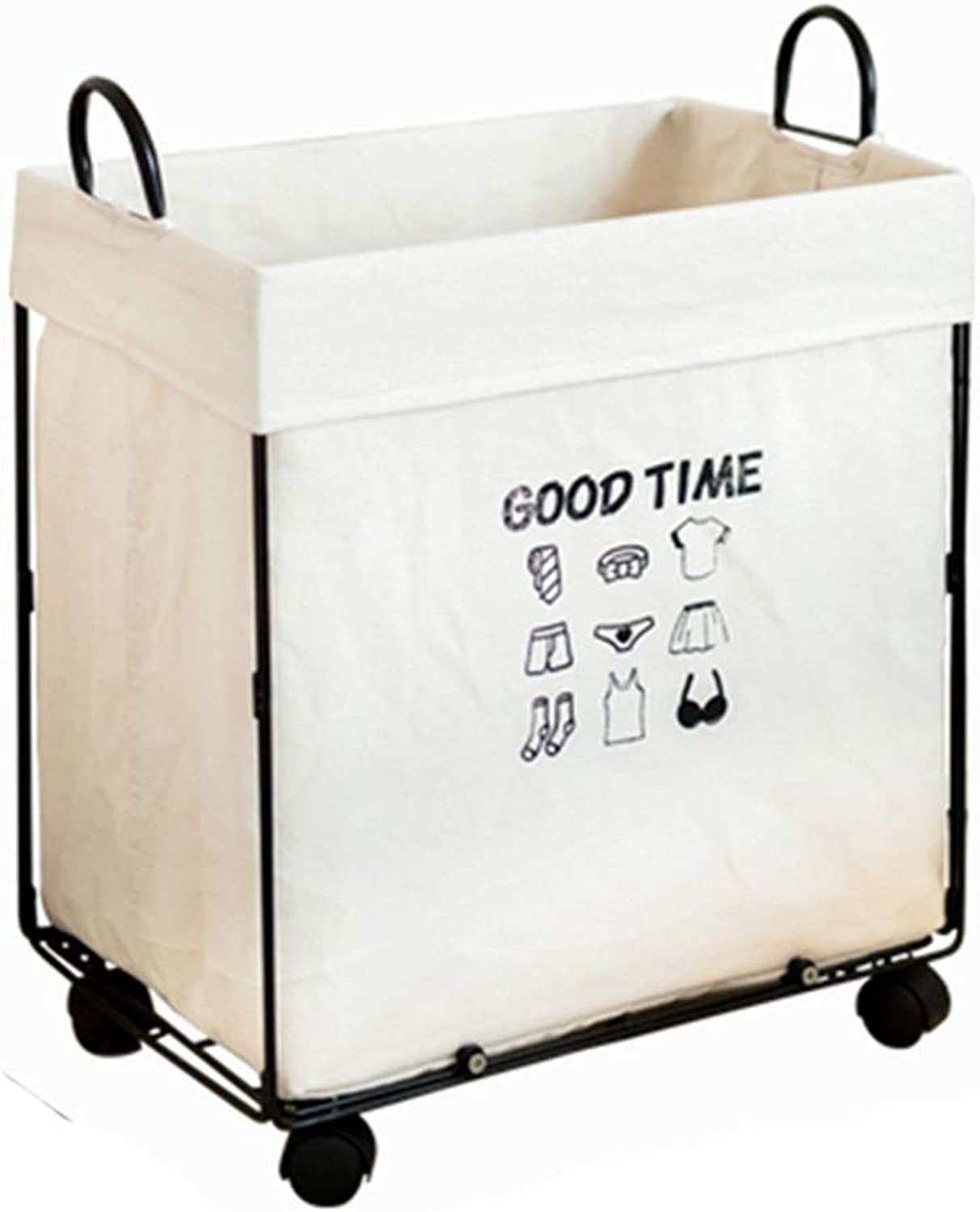 ZHANGQIANG Storage Basket Laundry Basket Iron Hamper Extra Large Nordic Style Metal Storage Basket with Wheels Bathroom Storage Barrel Industrial Wind (color   White Without Cover, Size   A)