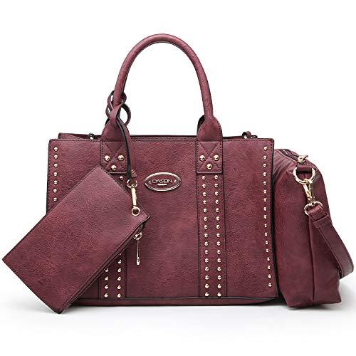 Women Vegan Leather Handbags Fashion Satchel Bags Shoulder Purses Top Handle Work Bags 3pcs Set Burgundy