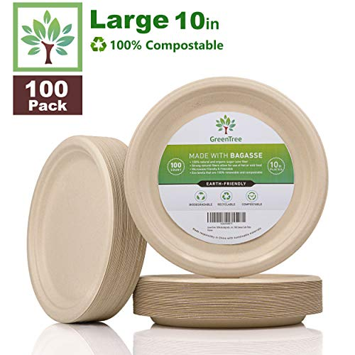 GreenTree 100% Biodegradable 10 in. Disposable Plates [100 Pack] | Paper Plates Substitute | Large Eco Friendly Plate | Bagasse Plate Made with All Natural Sugarcane | Microwave Safe Plate