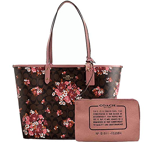 COACH Women's REVERSIBLE CITY TOTE IN SIGNATURE CANVAS WITH MEDLEY BOUQUET PRINT (F32084)