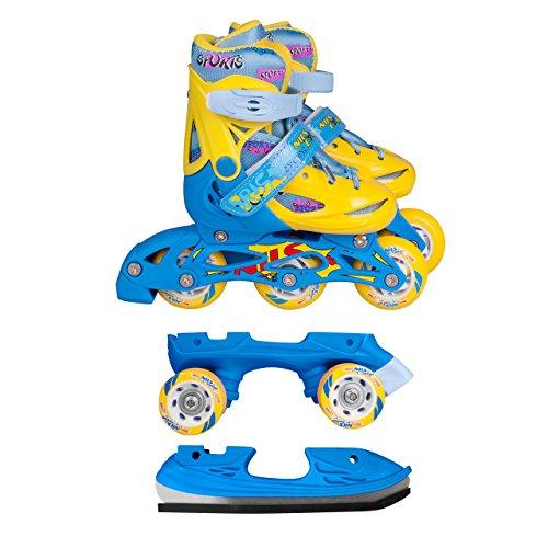 Inline Skates Kinder | NILS| Inliner 3in1 | Verstellbare Schlittschuhe Rollschuhe Größenverstellbar | Pink- Blau –Gelb | Größen 27-38 (Blau-Gelb, 35-38)