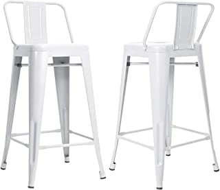 MOOSENG 26 inch Metal Barstools Set of 4 Indoor Outdoor with Low Back Counter Height Stool Kitchen Dining Side Bar Chairs, White-4Pack