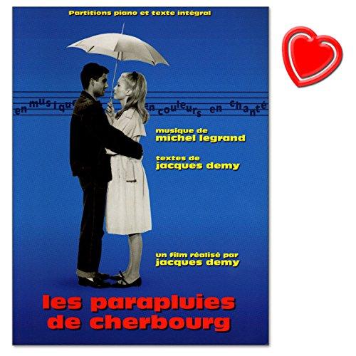 Notenbuch für Klavier und Gesang aus dem Film von Jacques Demy die Regenschirme von Cherbourg (Originaltitel: Les Parapluies de Cherbourg) - mit bunter herzförmiger Notenklammer