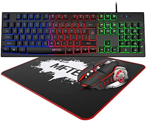 Rainbow Gaming Keyboard and Mouse Combo MFTEK Wired RGB Backlit Gaming Keyboard and 4 Color product image