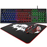 Rainbow Gaming Keyboard and Mouse Combo, MFTEK Wired RGB Backlit Gaming Keyboard and 4 Color Lighted Gaming Mouse Set with Mouse Pad for Computer PC Gamer Laptop Work