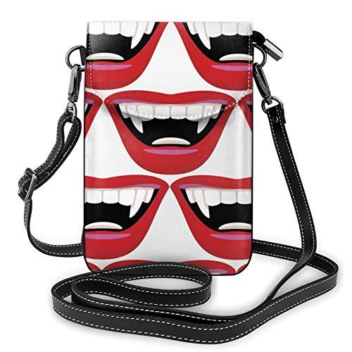 Bolso ligero del teléfono celular de la PU, bolso pequeño de la boca del vampiro de la bolsa del hombro de la cartera del bolso del Pounch para las mujeres, color Negro, talla Talla única